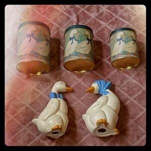 Vintage Blue Duck Decor Lot
